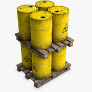Wooden Pallet with Radioactive Barrels 3d model