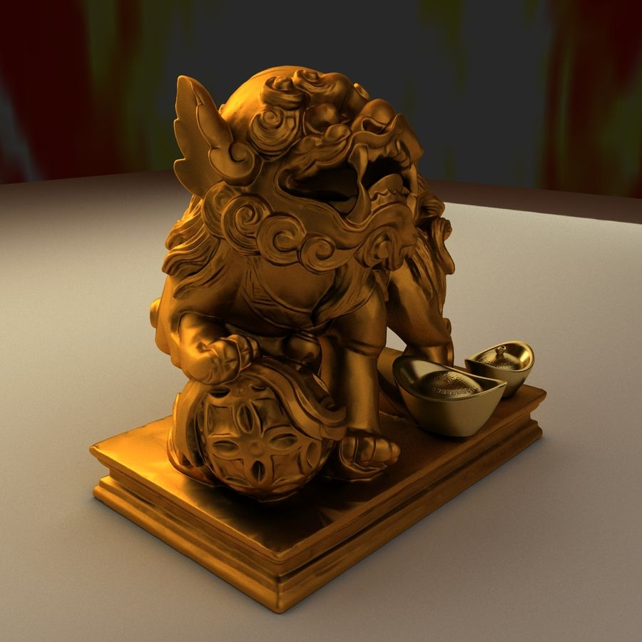 Chinese lion and gold ingot royalty-free 3d model - Preview no. 1