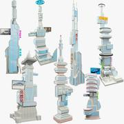 Science Fiction Skyscrapers Mega Set V2 3d model