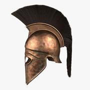 Ancient Greek Corinthian Helmet with Crest 3d model