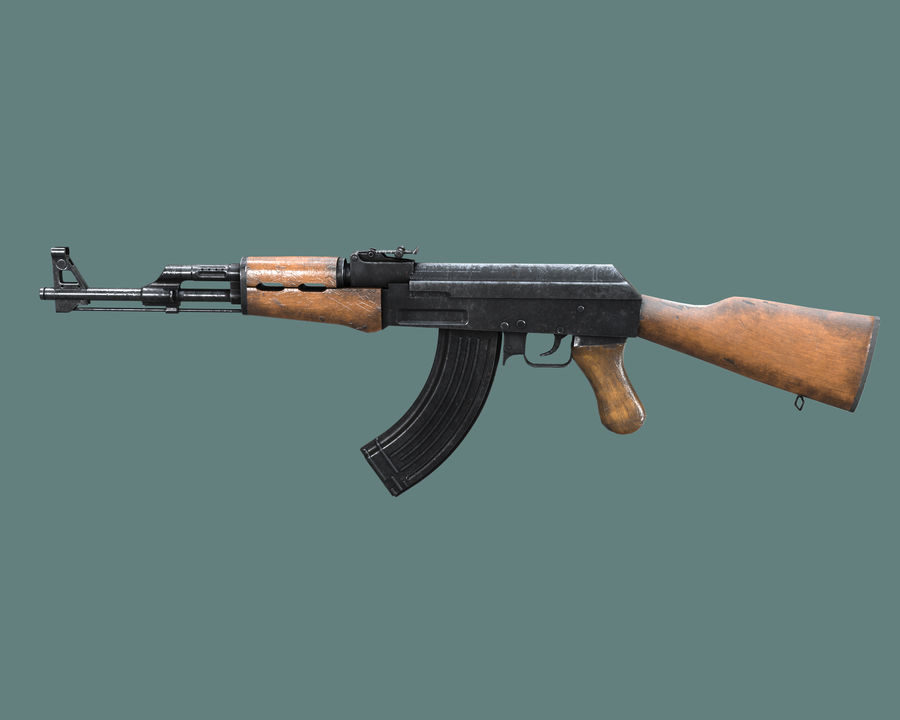 AK 47 Assault Rifle royalty-free 3d model - Preview no. 2