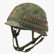 Capacete de combate M1 - com capa - desgastado 3d model