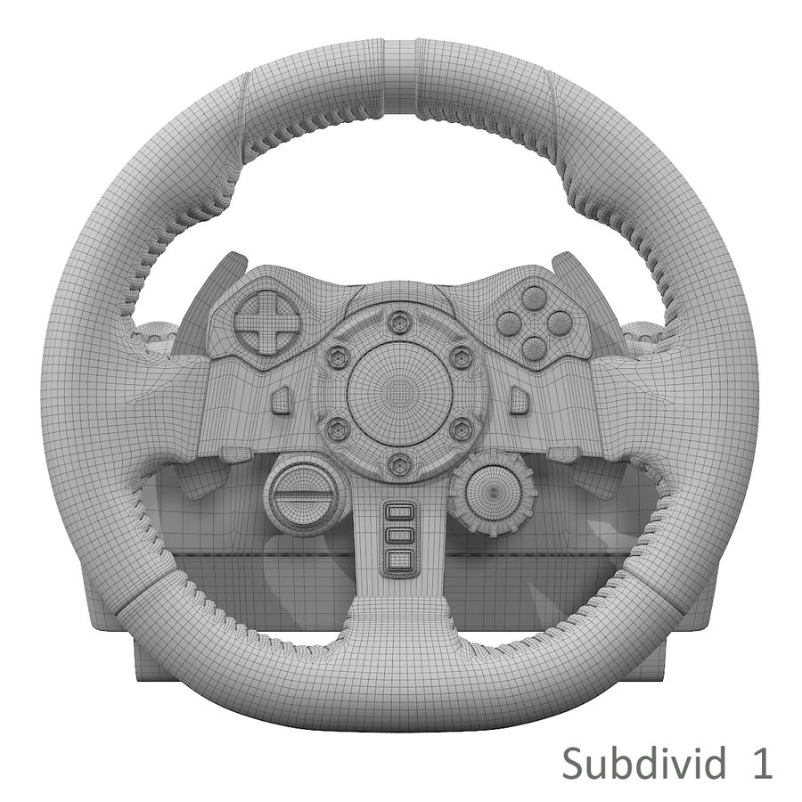 Kierownica wyścigowa Logitech G29 royalty-free 3d model - Preview no. 9