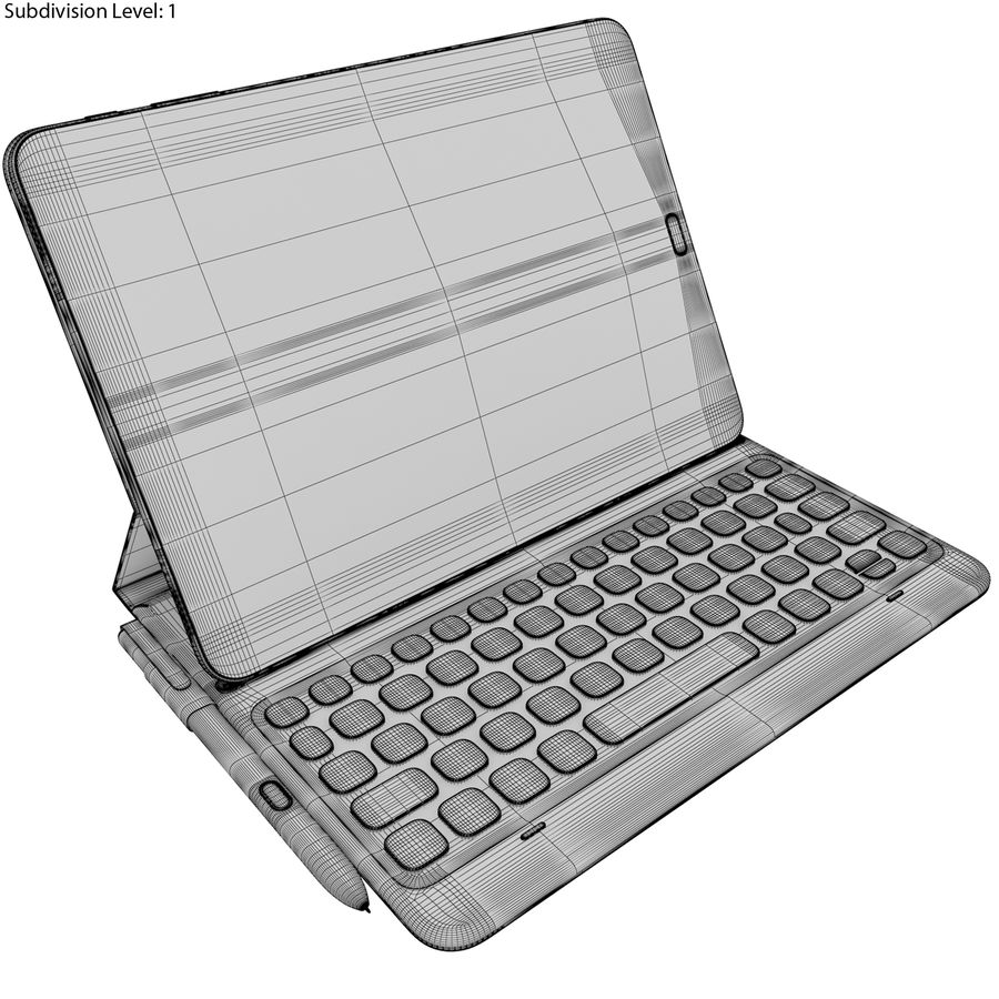 Samsung Galaxy Tab S3 S Pen & Keyboard ile Tüm Renkler (Arma) royalty-free 3d model - Preview no. 55
