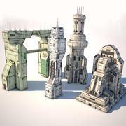 pack sci-fi buildings P2 3d model