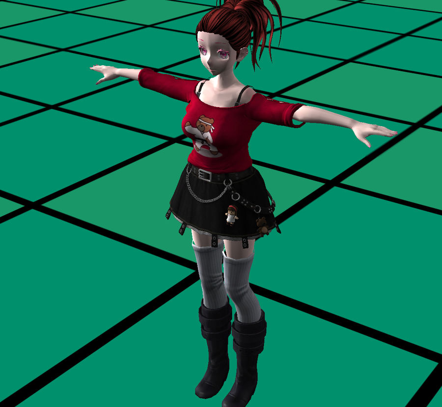 Anime Styled Club Girl royalty-free 3d model - Preview no. 4