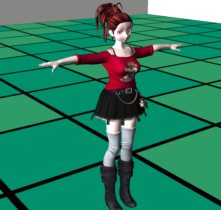 Anime Styled Club Girl royalty-free 3d model - Preview no. 11