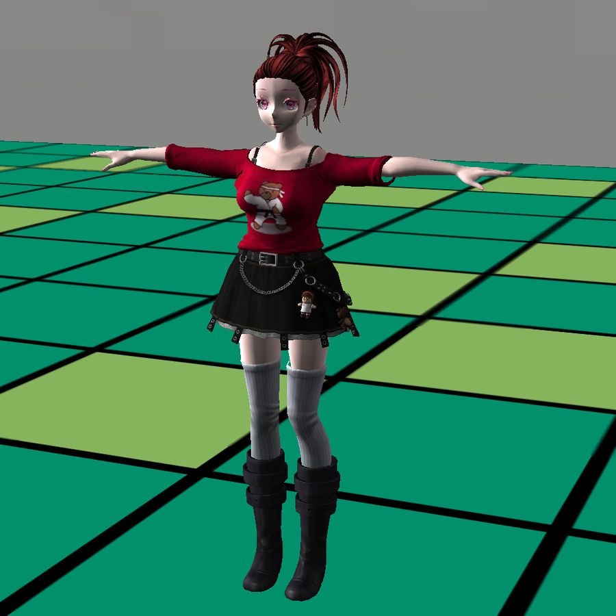 Anime Styled Club Girl royalty-free 3d model - Preview no. 9