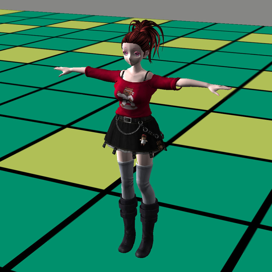 Anime Styled Club Girl royalty-free 3d model - Preview no. 3
