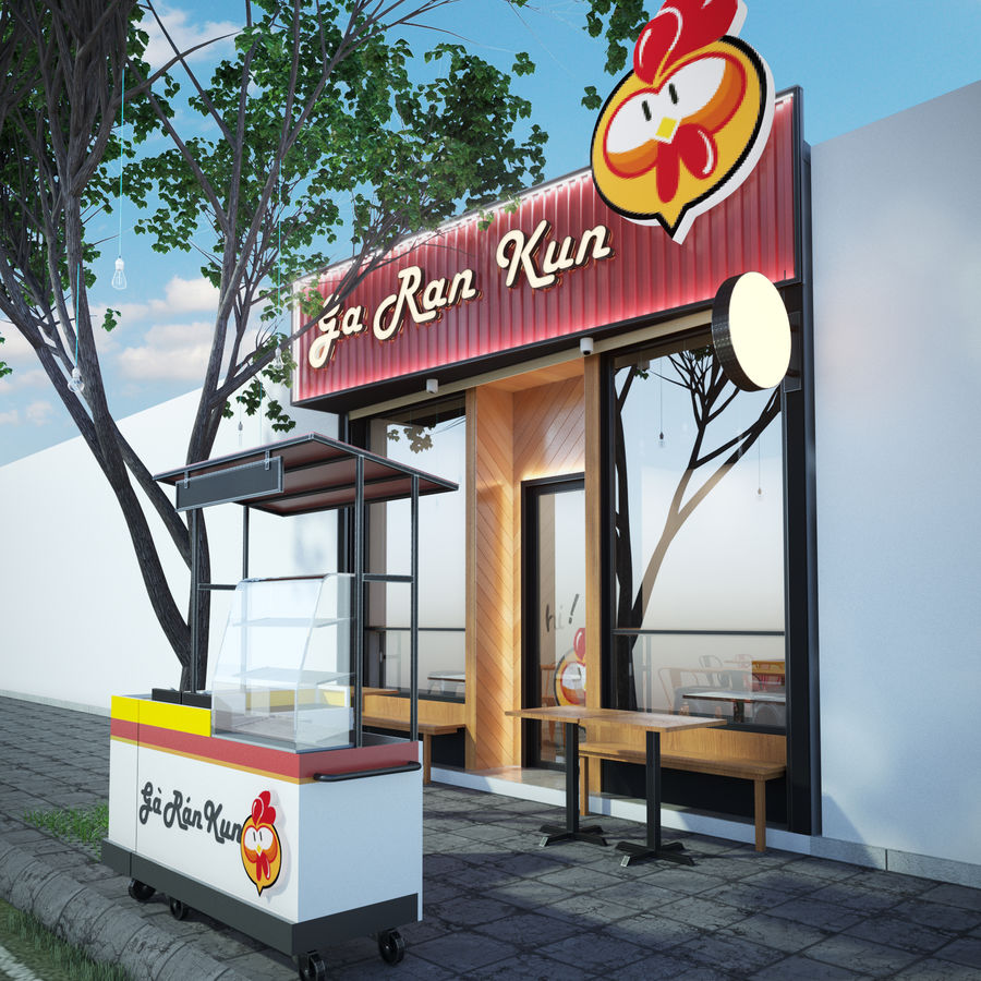 Fried Chicken Shop royalty-free 3d model - Preview no. 4
