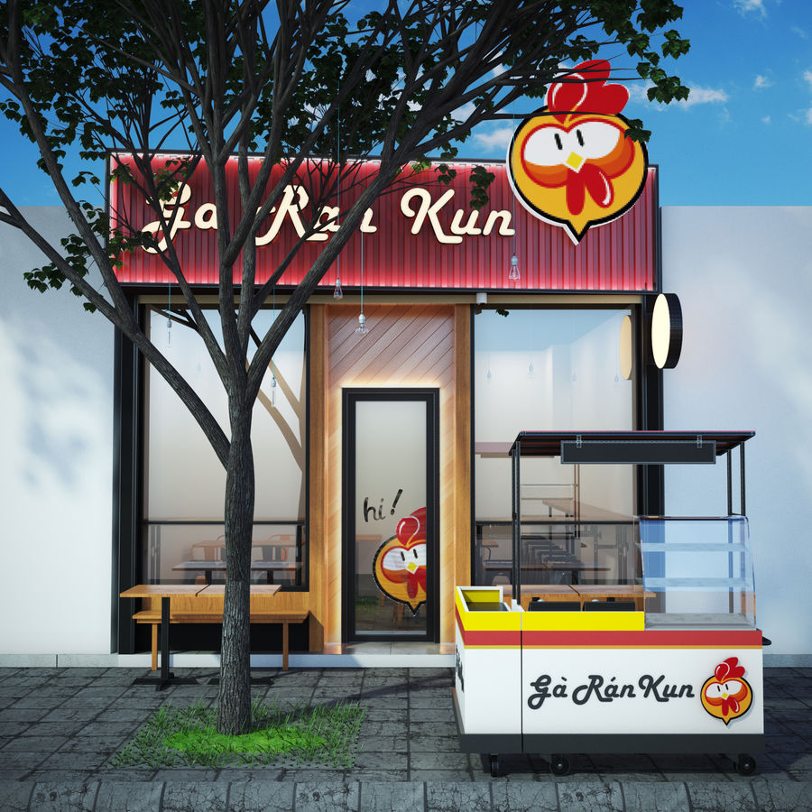 Fried Chicken Shop royalty-free 3d model - Preview no. 2