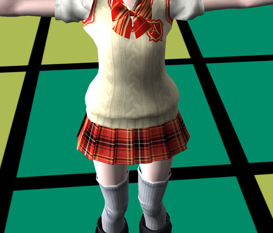 Rigged Anime School Outfit royalty-free 3d model - Preview no. 9