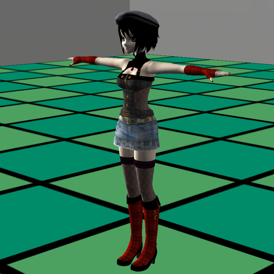 Anime Dance Girl royalty-free modelo 3d - Preview no. 11