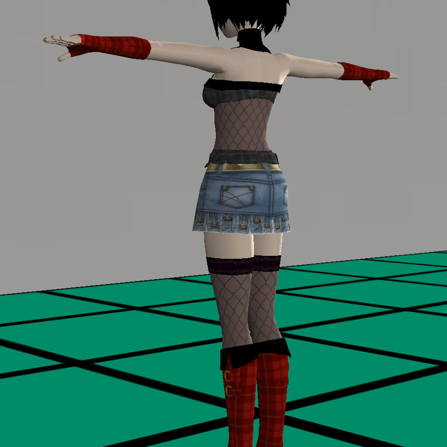 Anime Dance Girl royalty-free modelo 3d - Preview no. 6