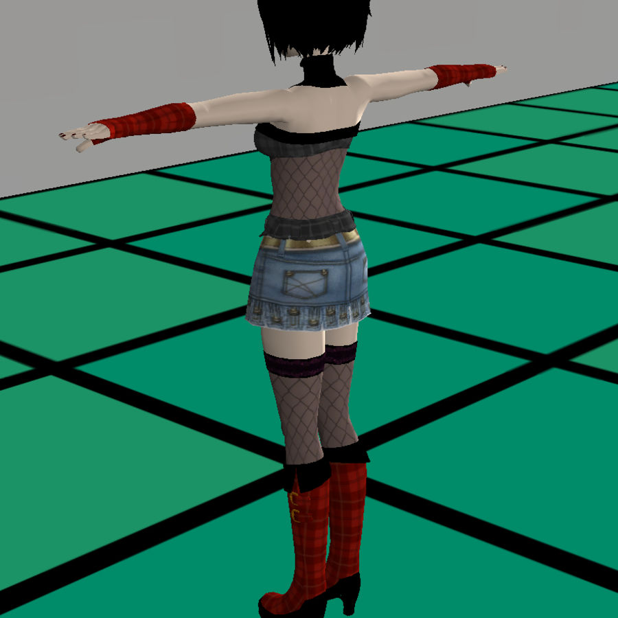 Anime Dance Girl royalty-free modelo 3d - Preview no. 1