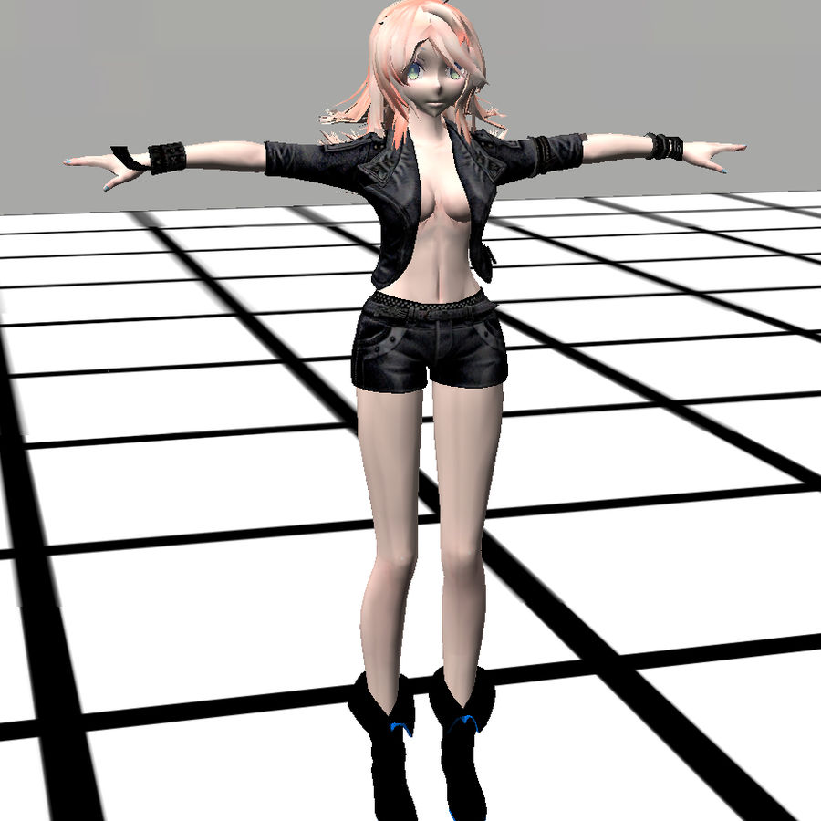 Anime Rigged Metal Girl royalty-free 3d model - Preview no. 6