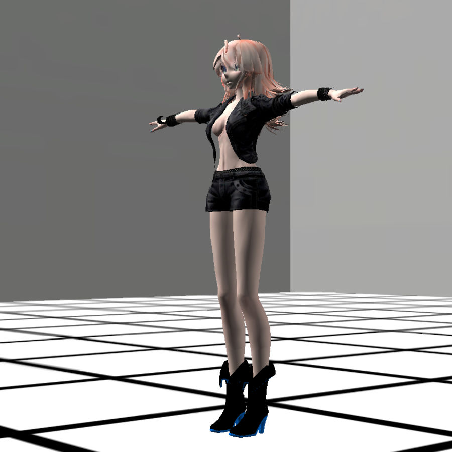 Anime Rigged Metal Girl royalty-free 3d model - Preview no. 1