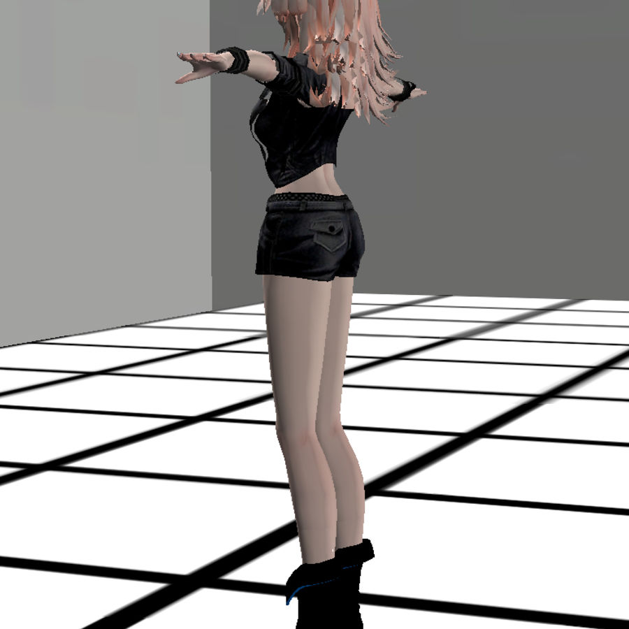 Anime Rigged Metal Girl royalty-free 3d model - Preview no. 12