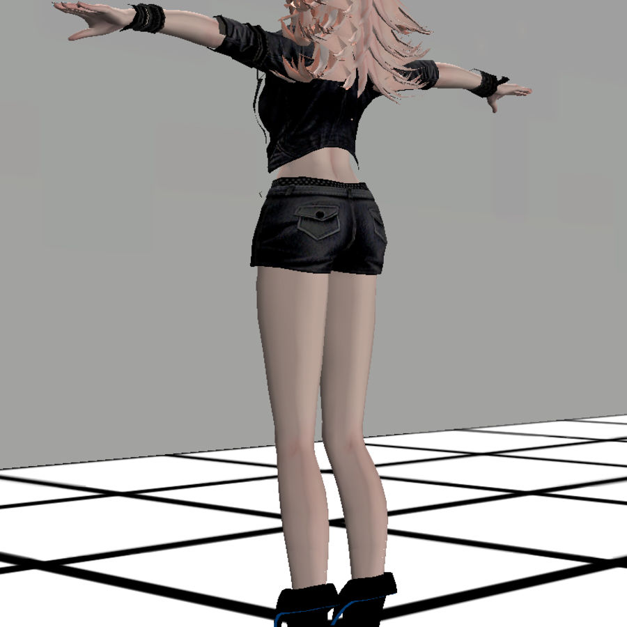 Anime Rigged Metal Girl royalty-free 3d model - Preview no. 4