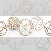 Objetos geométricos de decoração - quadros de esfera 3d model