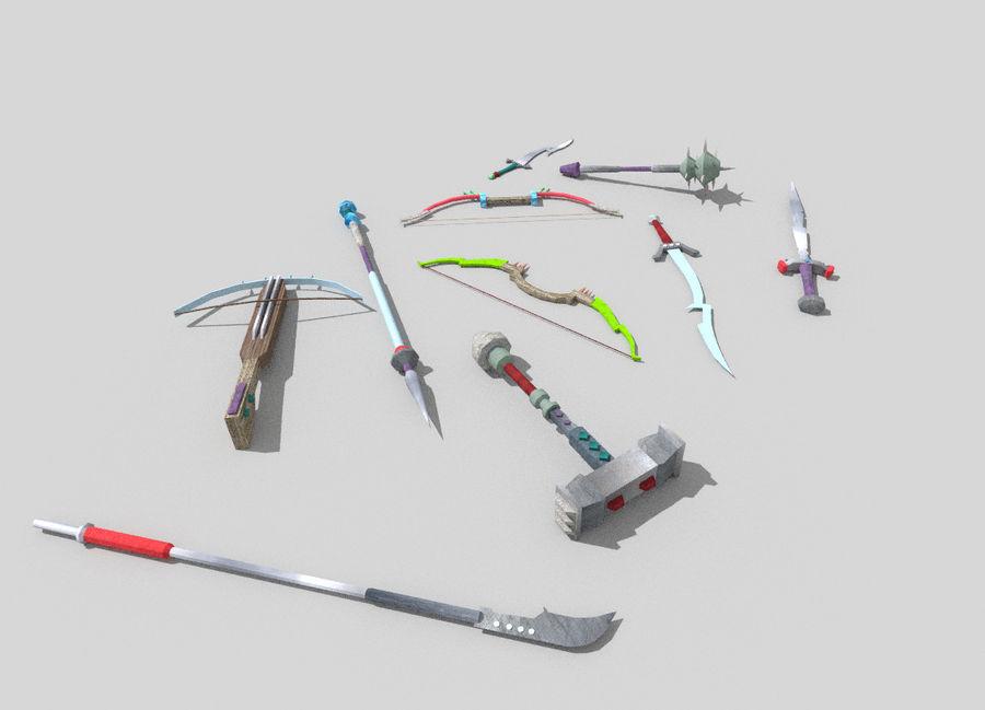 10 низкополигональных фэнтезийного оружия royalty-free 3d model - Preview no. 5