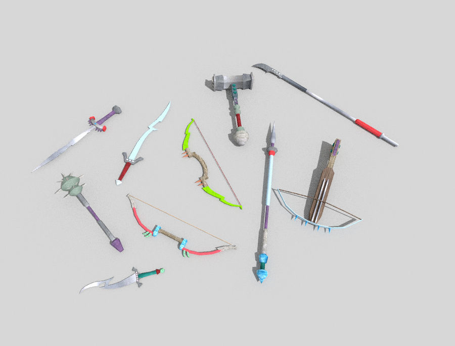 10 низкополигональных фэнтезийного оружия royalty-free 3d model - Preview no. 1