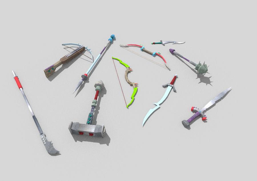 10 низкополигональных фэнтезийного оружия royalty-free 3d model - Preview no. 4