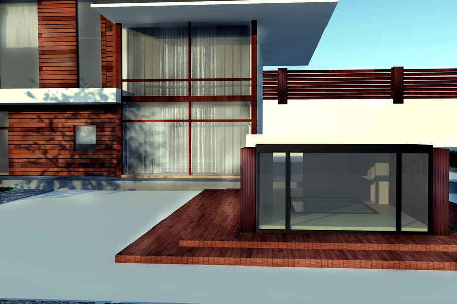Modern architecture house royalty-free 3d model - Preview no. 5