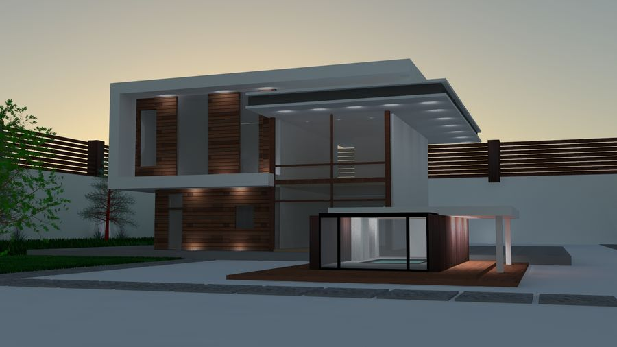 Modern architecture house royalty-free 3d model - Preview no. 1