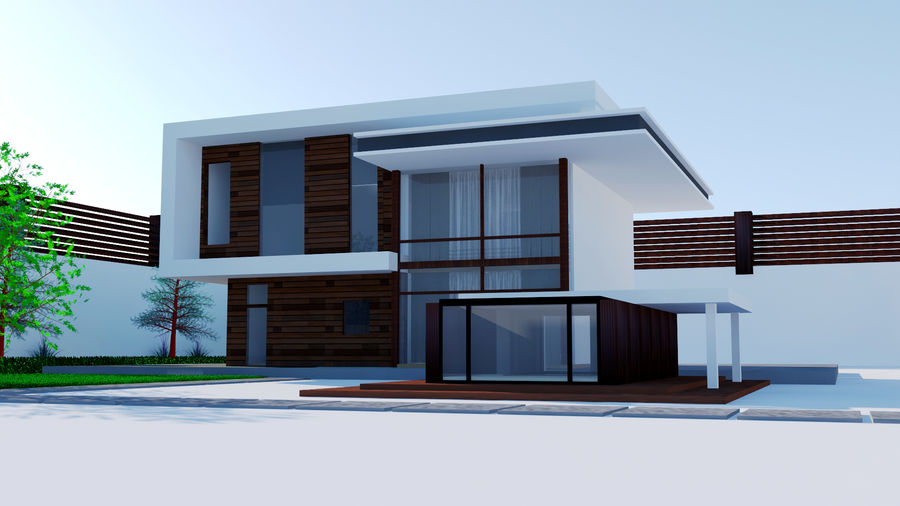 Modern architecture house royalty-free 3d model - Preview no. 2