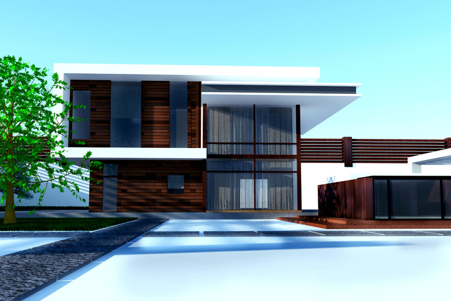 Modern architecture house royalty-free 3d model - Preview no. 3