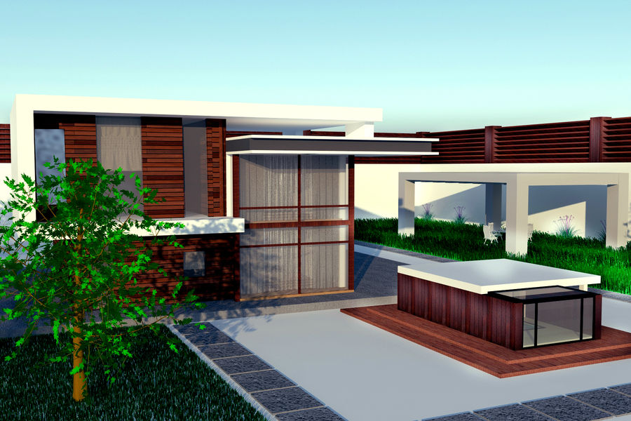 Modern architecture house royalty-free 3d model - Preview no. 4