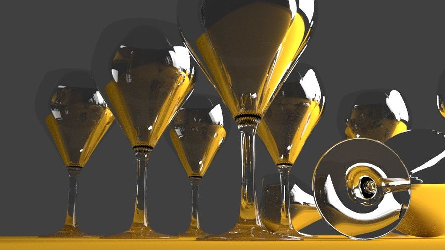 glass of wine royalty-free 3d model - Preview no. 3
