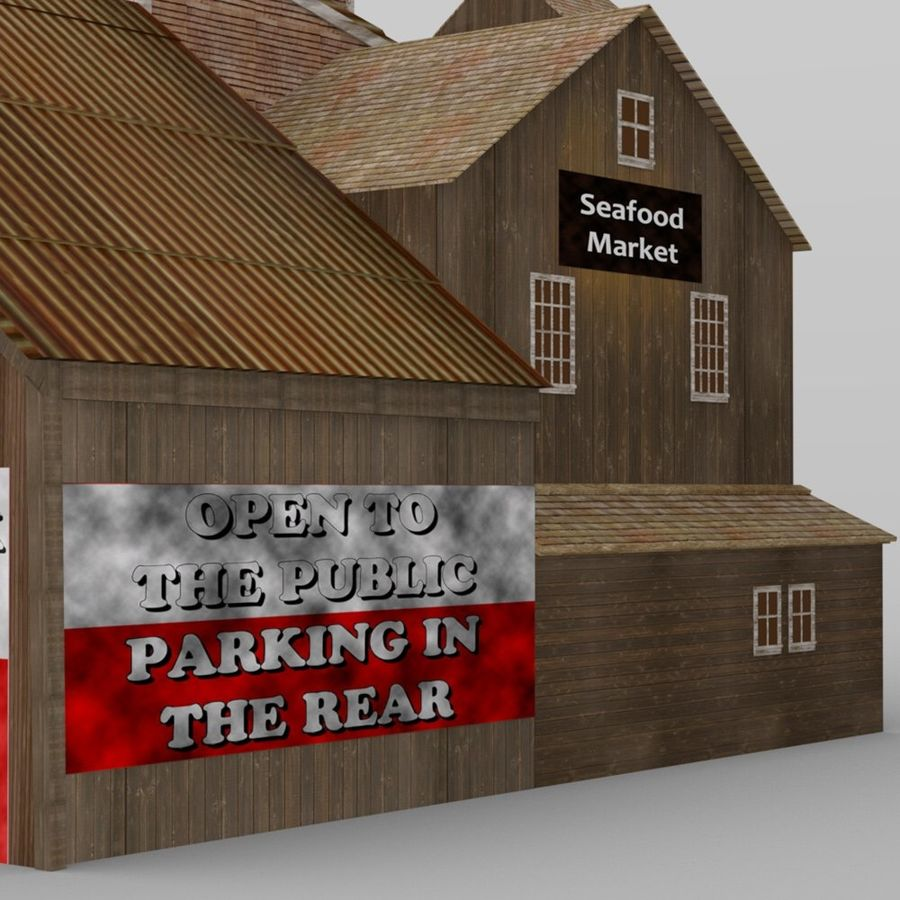 Wharf Building obj format royalty-free 3d model - Preview no. 9