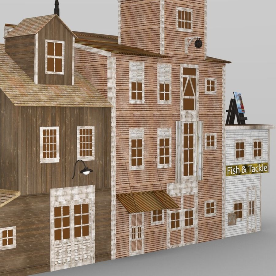 Wharf Building obj format royalty-free 3d model - Preview no. 6