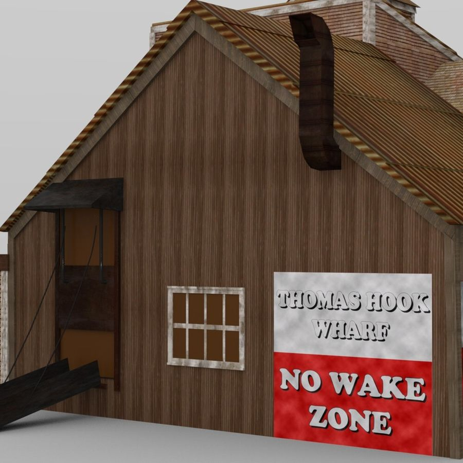 Wharf Building obj format royalty-free 3d model - Preview no. 8