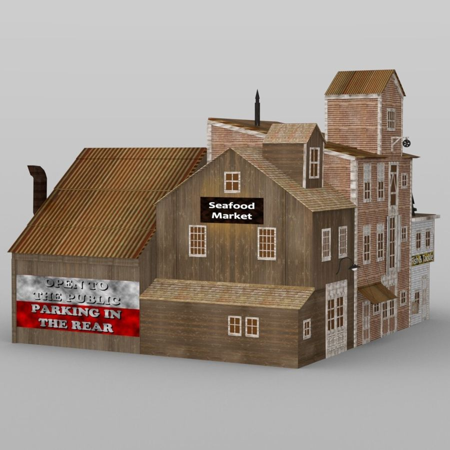 Wharf Building obj format royalty-free 3d model - Preview no. 2