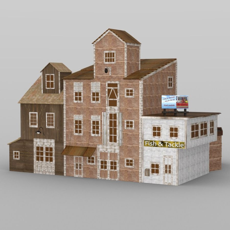 Wharf Building obj format royalty-free 3d model - Preview no. 1