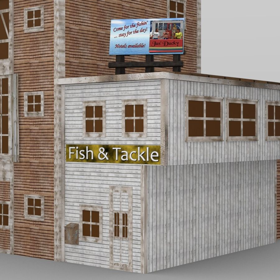 Wharf Building obj format royalty-free 3d model - Preview no. 7