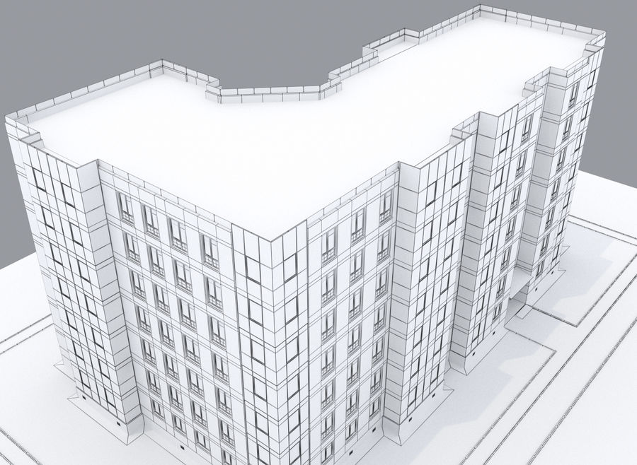Apartment brick building royalty-free 3d model - Preview no. 9