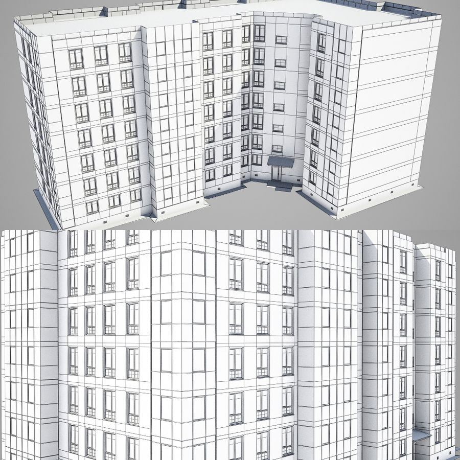 Apartment brick building royalty-free 3d model - Preview no. 11