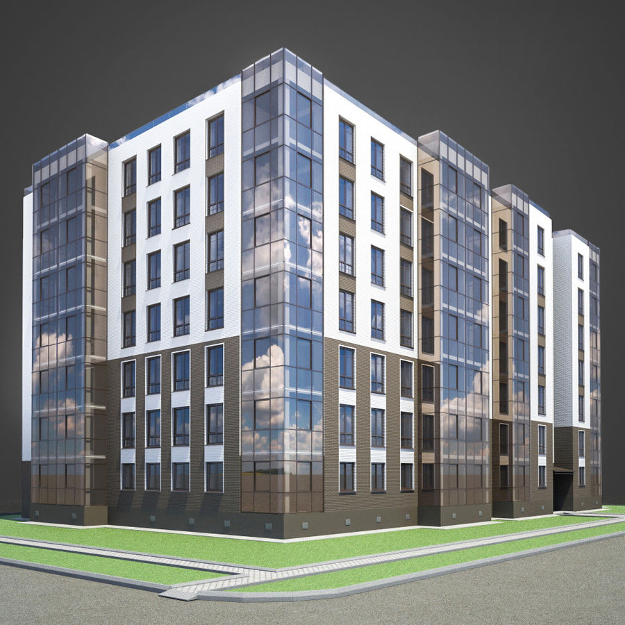 Apartment brick building royalty-free 3d model - Preview no. 1