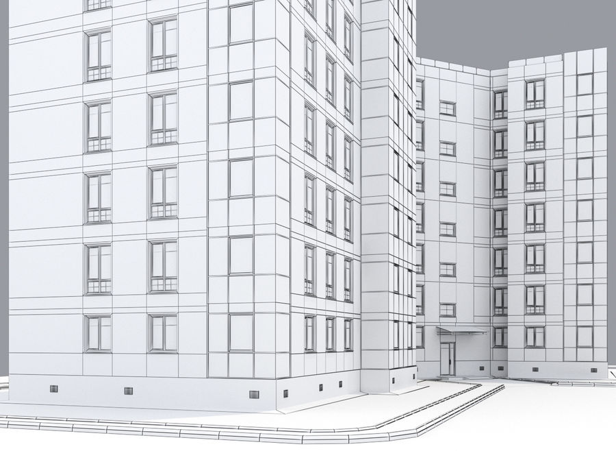 Apartment brick building royalty-free 3d model - Preview no. 8