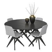 テーブルPotocco Italy Torso 837-T4Wと椅子Torso 837-I 3d model