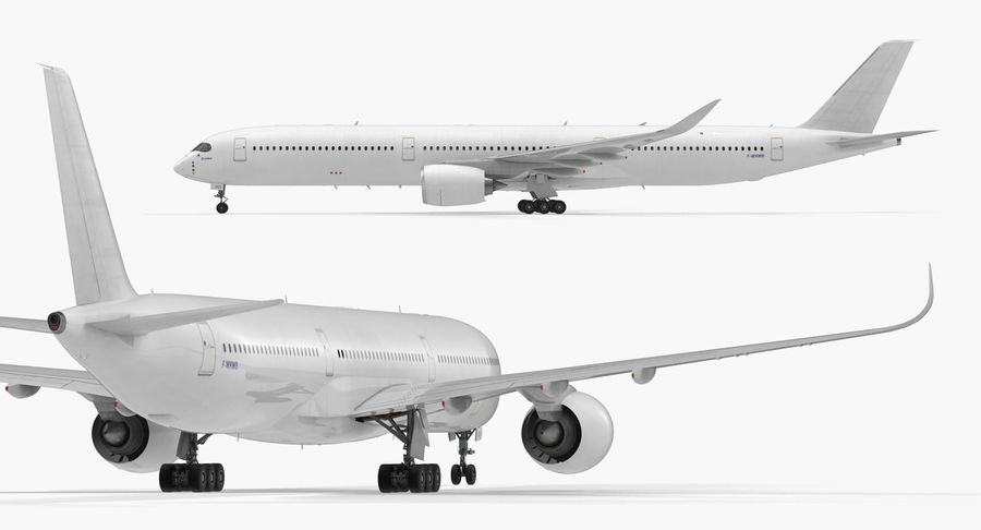 Airbus A350-1000 Generic royalty-free 3d model - Preview no. 9