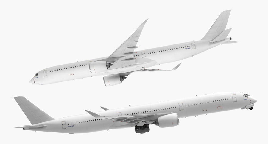 Airbus A350-1000 Generic royalty-free 3d model - Preview no. 8
