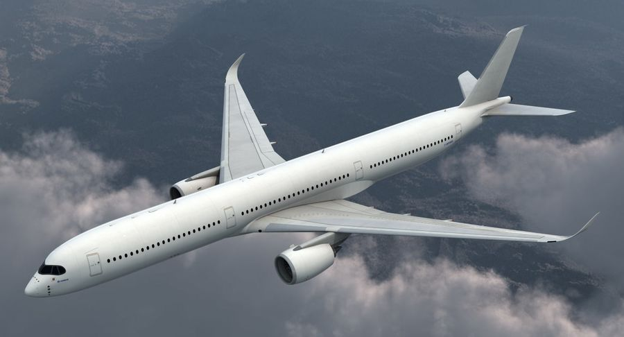 Airbus A350-1000 Generic royalty-free 3d model - Preview no. 3
