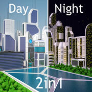 Future City Day and Night Set 3d model