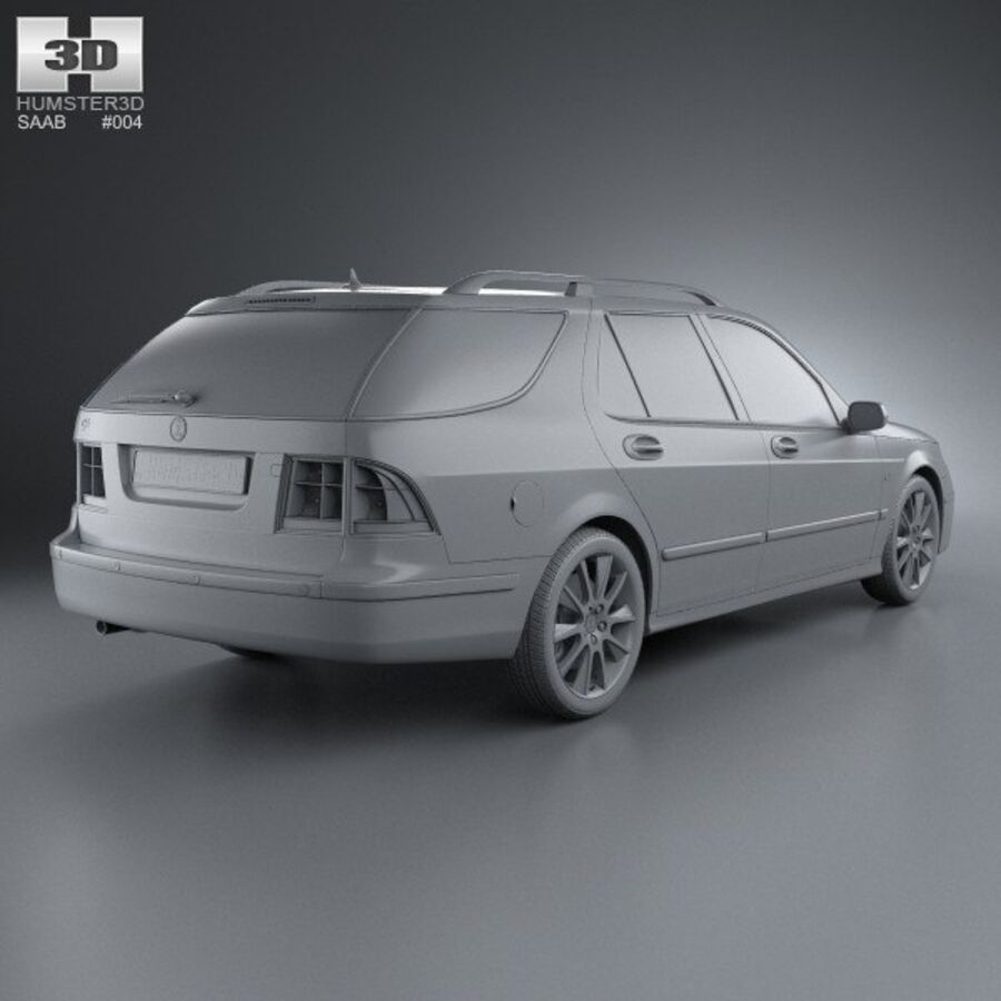 Saab 9-5 Aero vagn 2005 royalty-free 3d model - Preview no. 12