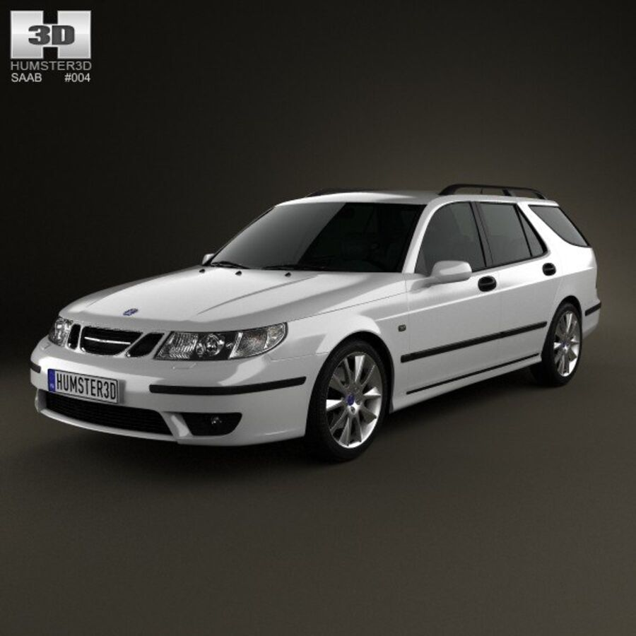 Saab 9-5 Aero vagn 2005 royalty-free 3d model - Preview no. 1